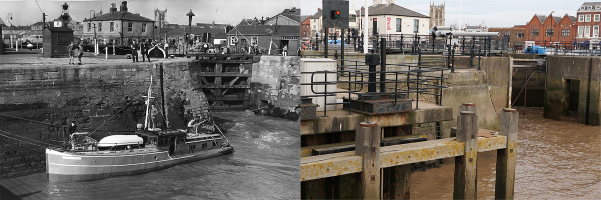 Humber Dock c1960 and 2016