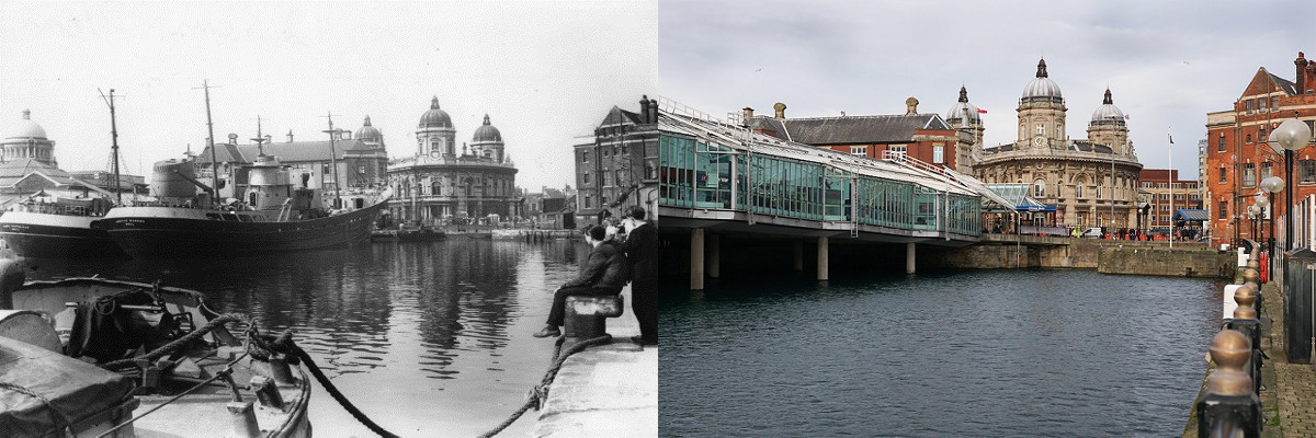 Princes Dock c1960 and 2016